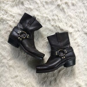 Frye Sz 8.5 Leather Harness Ankle Boots